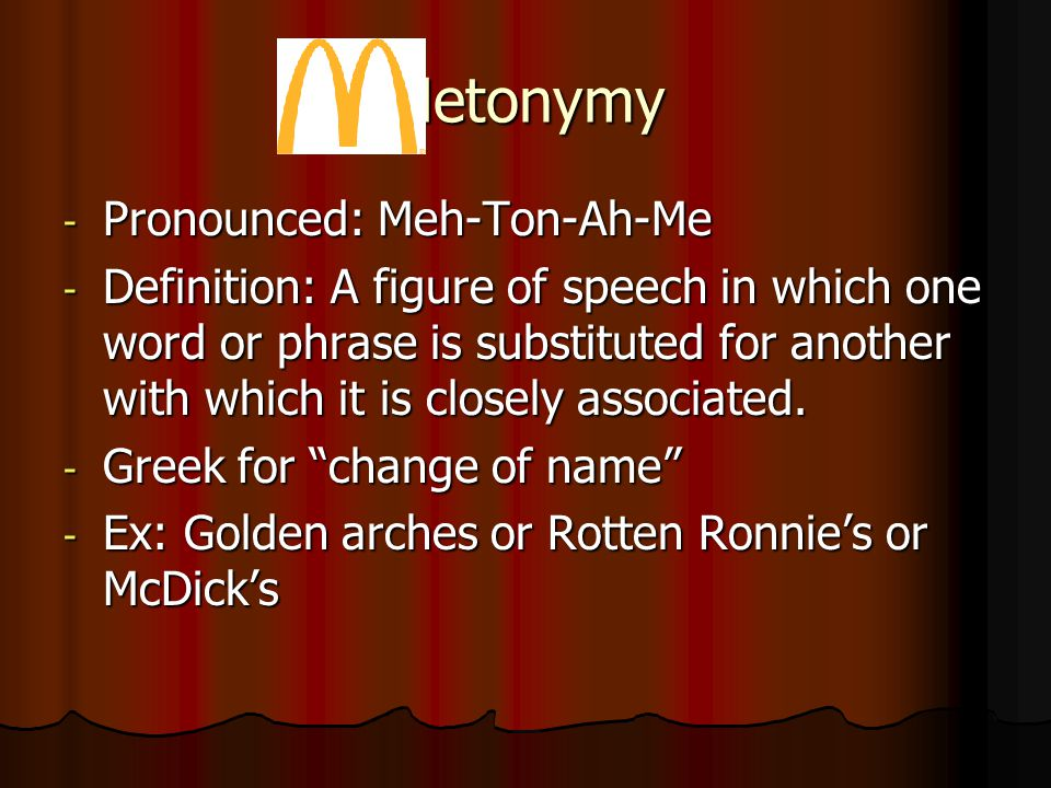 Metonymy Pronounced: Meh-Ton-Ah-Me