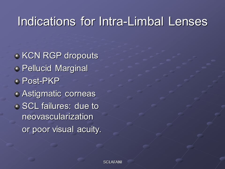 Indications for Intra-Limbal Lenses