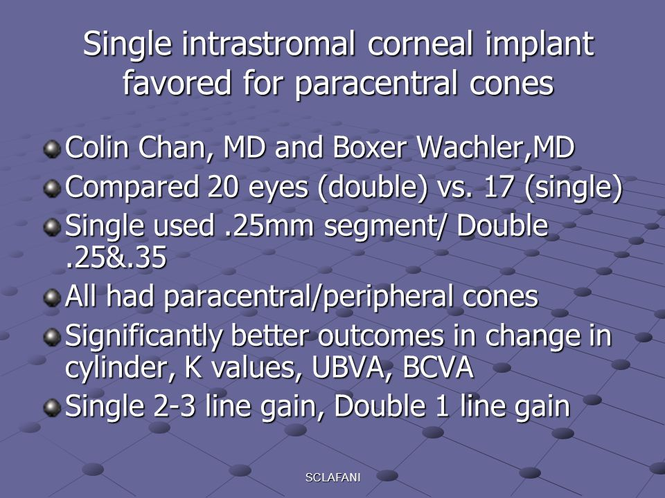 Single intrastromal corneal implant favored for paracentral cones