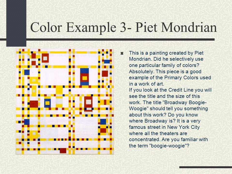 Color Example 3- Piet Mondrian