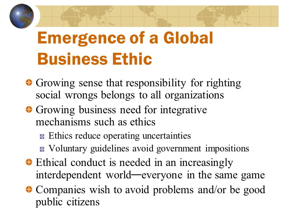 Emergence of a Global Business Ethic