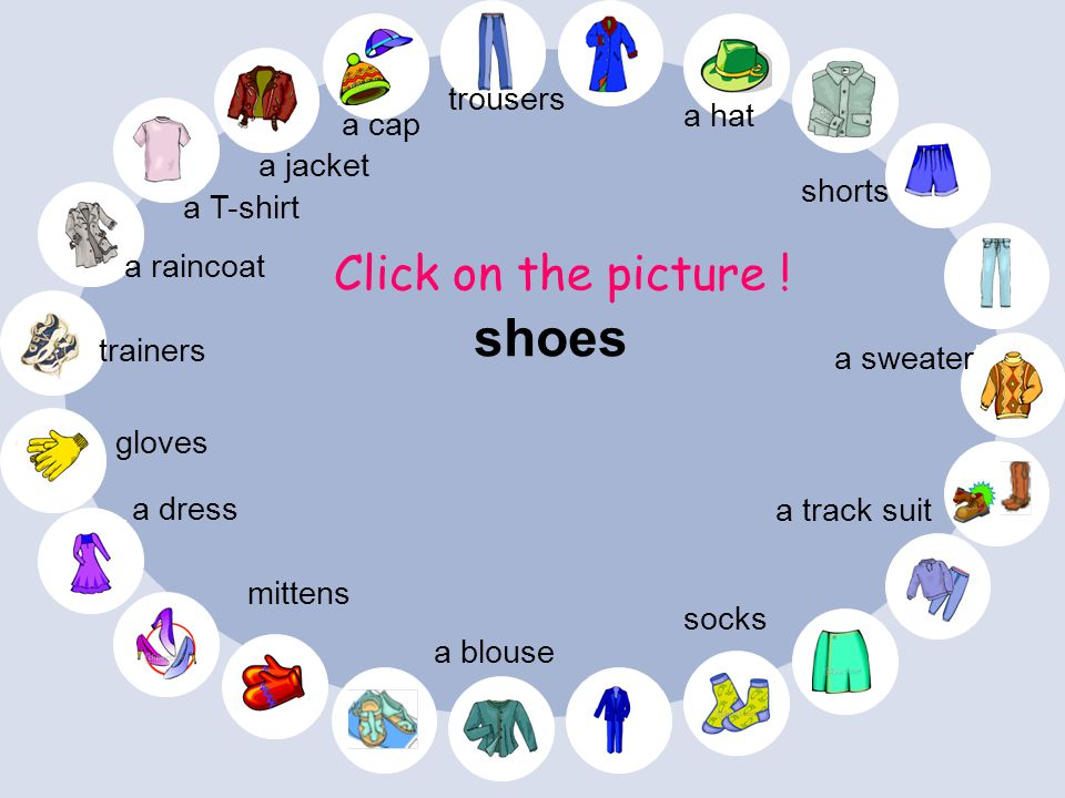 shoes Click on the picture ! trousers a hat a cap a jacket shorts