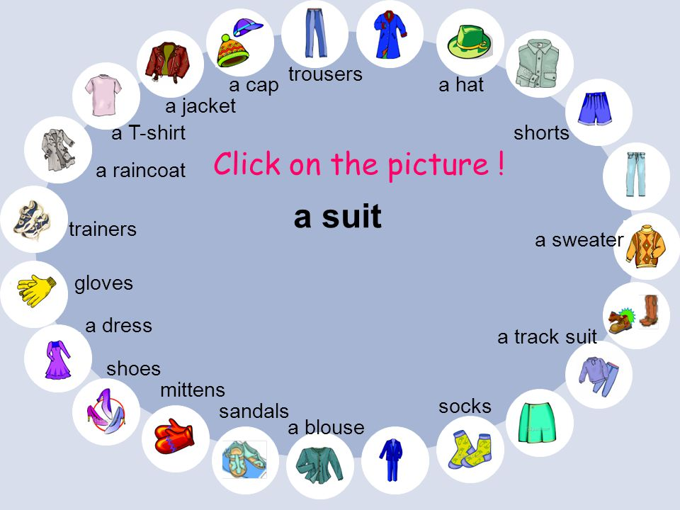 a suit Click on the picture ! trousers a cap a hat a jacket a T-shirt