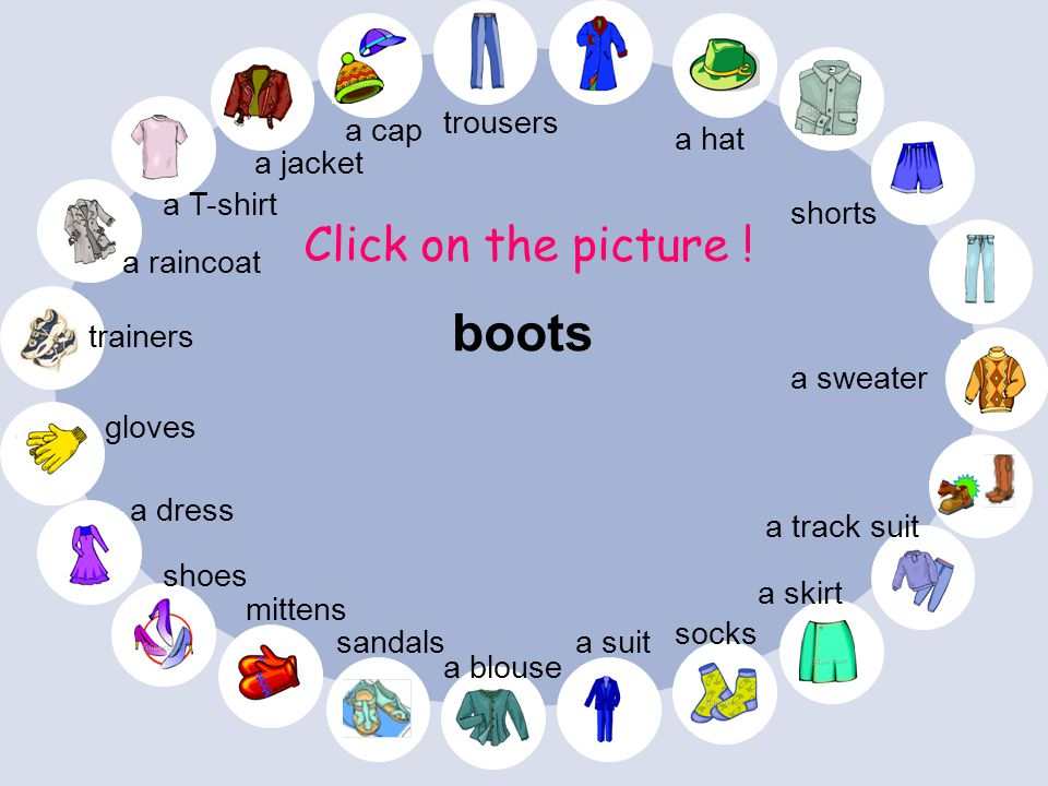 boots Click on the picture ! trousers a cap a hat a jacket a T-shirt