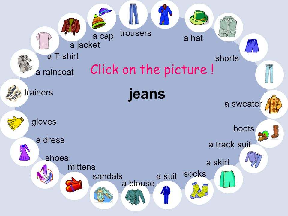 jeans Click on the picture ! trousers a cap a hat a jacket a T-shirt