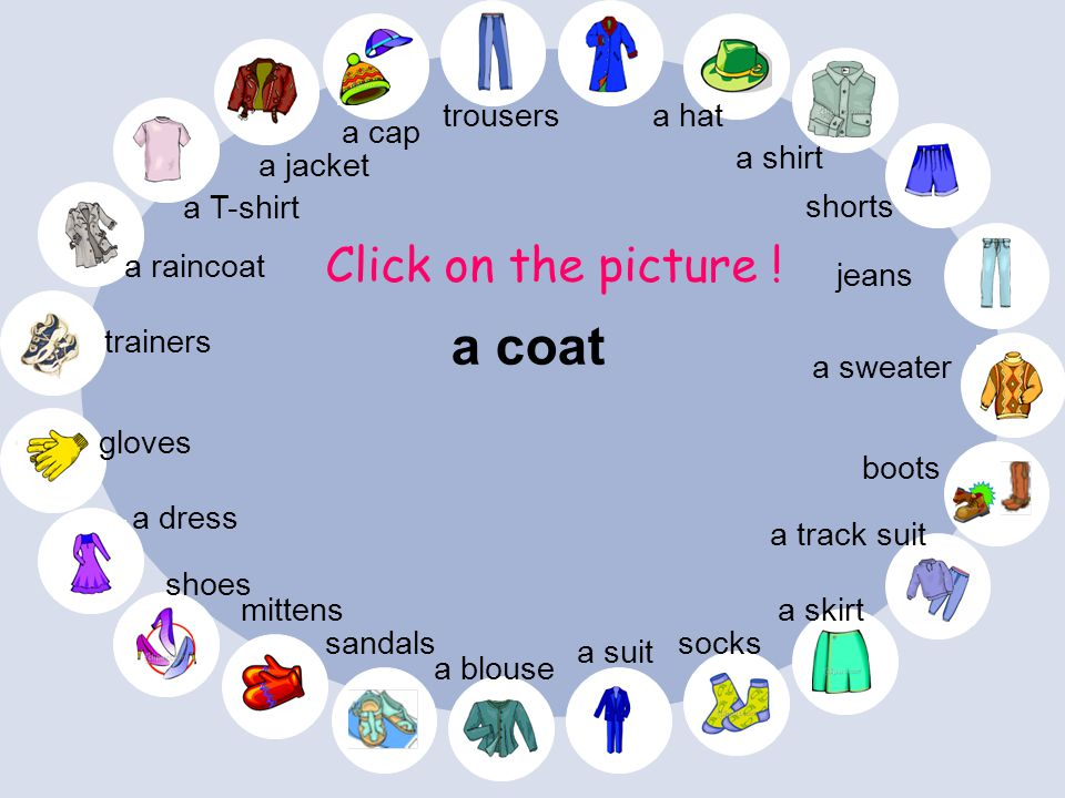 a coat Click on the picture ! trousers a hat a cap a shirt a jacket