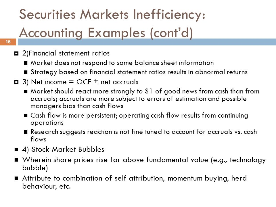 Securities Markets Inefficiency: Accounting Examples (cont'd)