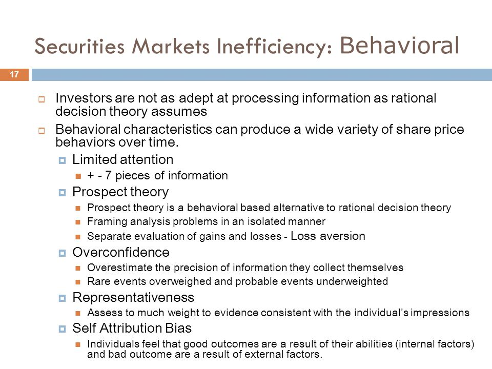 Securities Markets Inefficiency: Behavioral