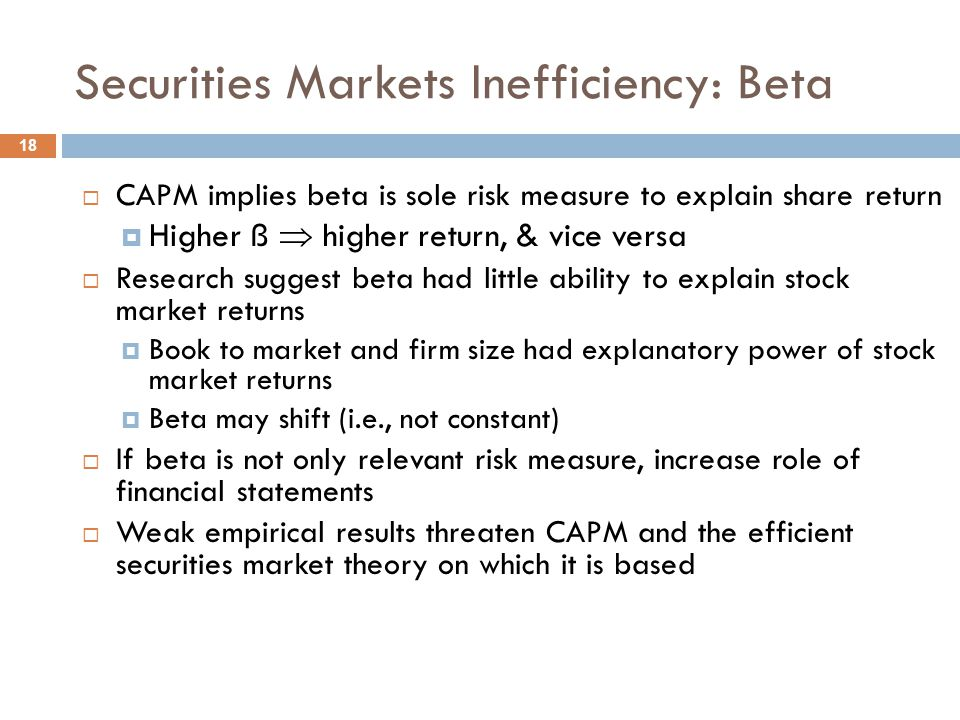 Securities Markets Inefficiency: Beta
