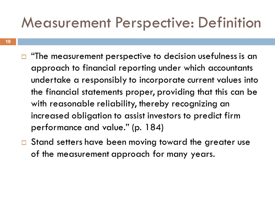 Measurement Perspective: Definition
