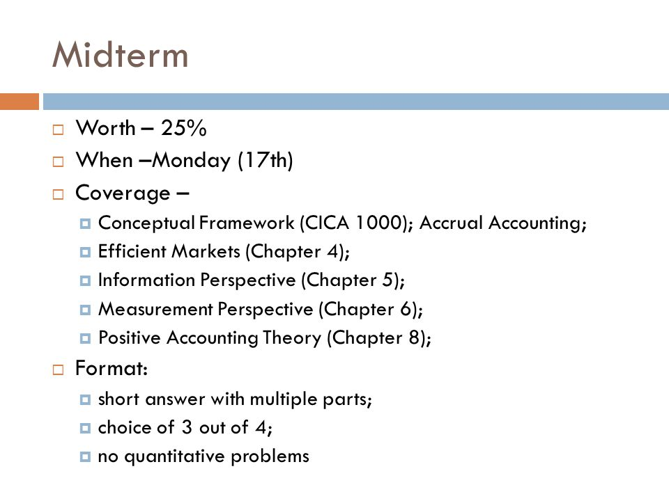Midterm Worth – 25% When –Monday (17th) Coverage – Format: