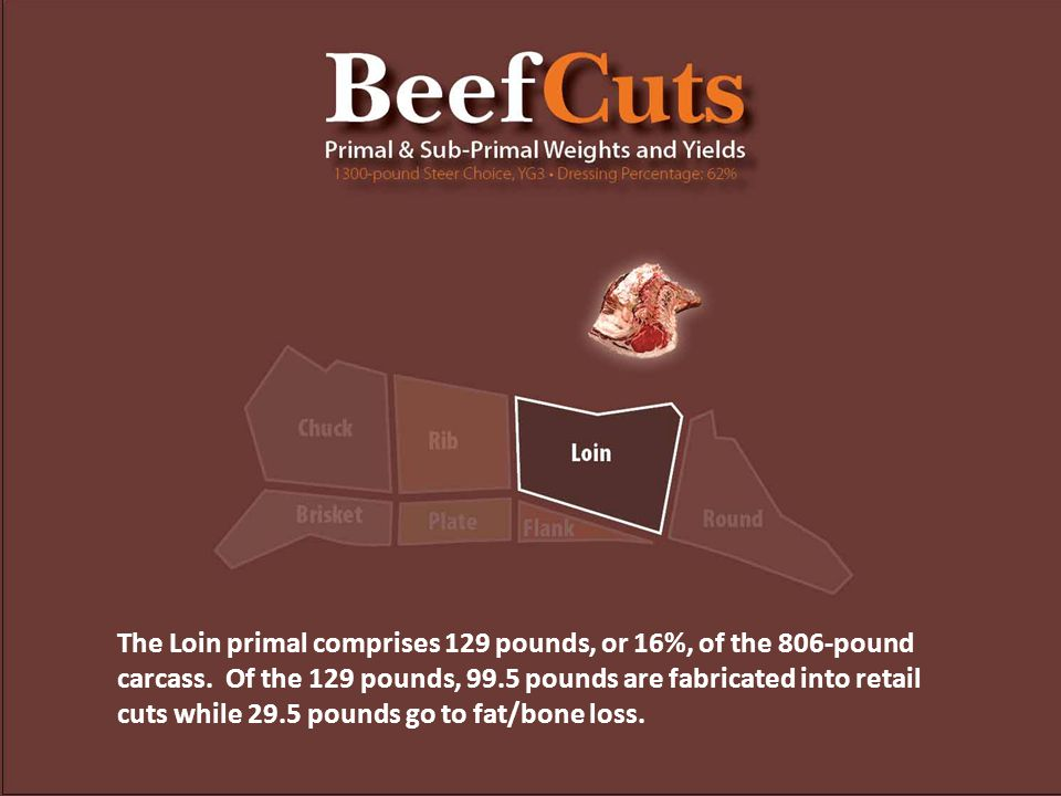 The Loin primal comprises 129 pounds, or 16%, of the 806-pound carcass