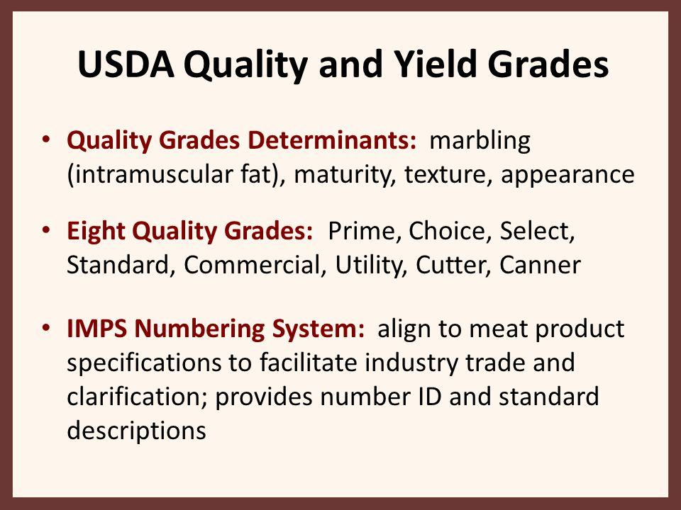 USDA Quality and Yield Grades