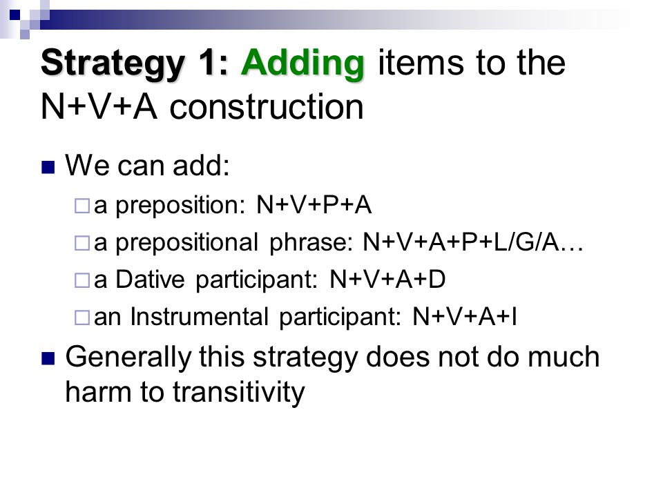 Strategy 1: Adding items to the N+V+A construction