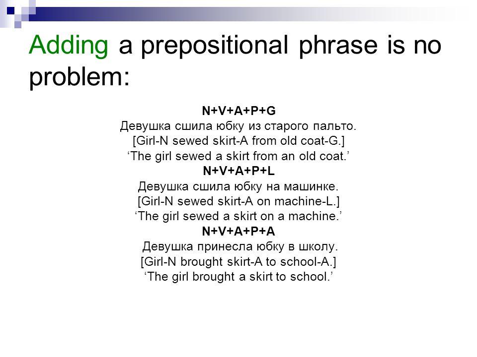 Adding a prepositional phrase is no problem: