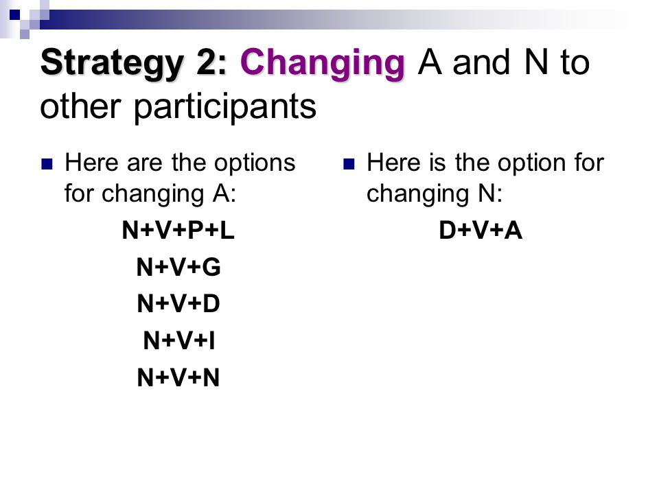 Strategy 2: Changing A and N to other participants