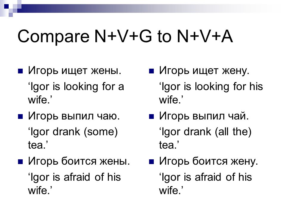 Compare N+V+G to N+V+A Игорь ищет жены. 'Igor is looking for a wife.'
