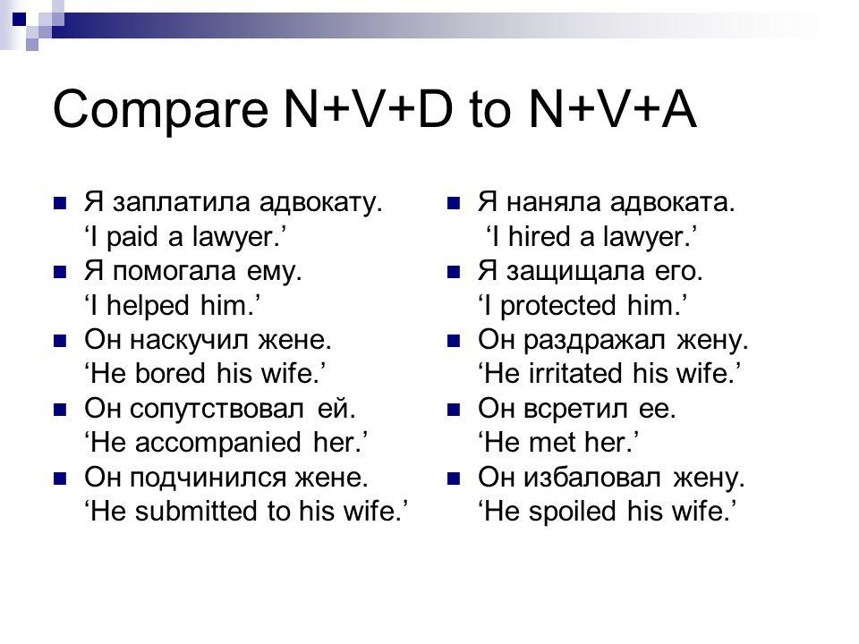 Compare N+V+D to N+V+A Я заплатила адвокату. 'I paid a lawyer.'