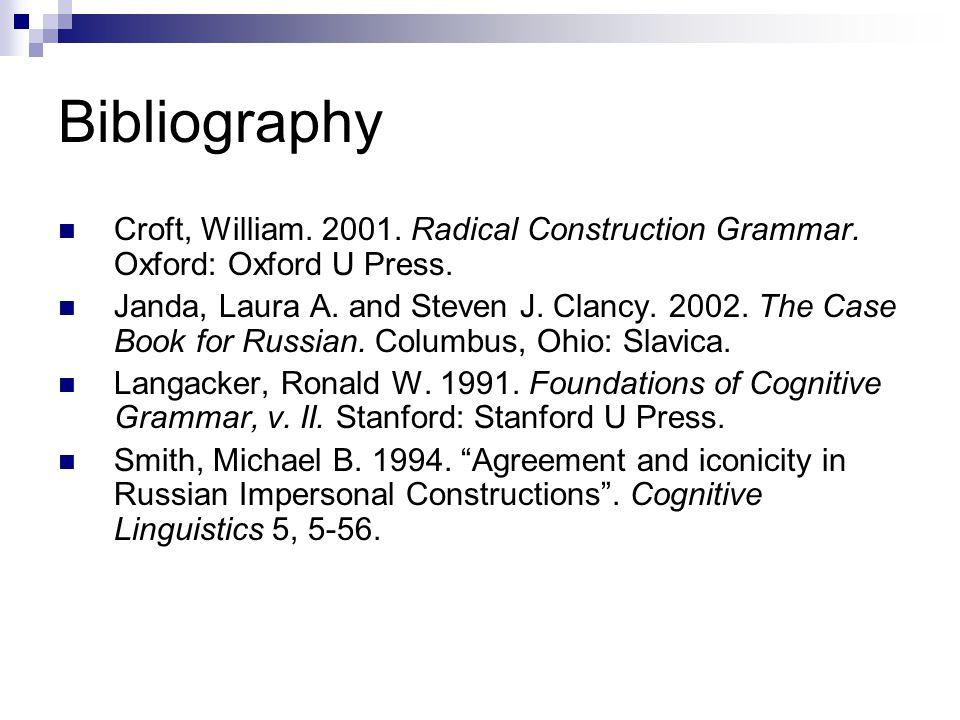 Bibliography Croft, William. 2001. Radical Construction Grammar. Oxford: Oxford U Press.