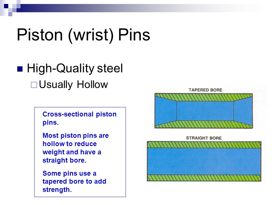 Piston (wrist) Pins High-Quality steel Usually Hollow