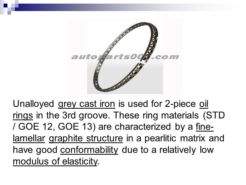 Unalloyed grey cast iron is used for 2-piece oil rings in the 3rd groove.