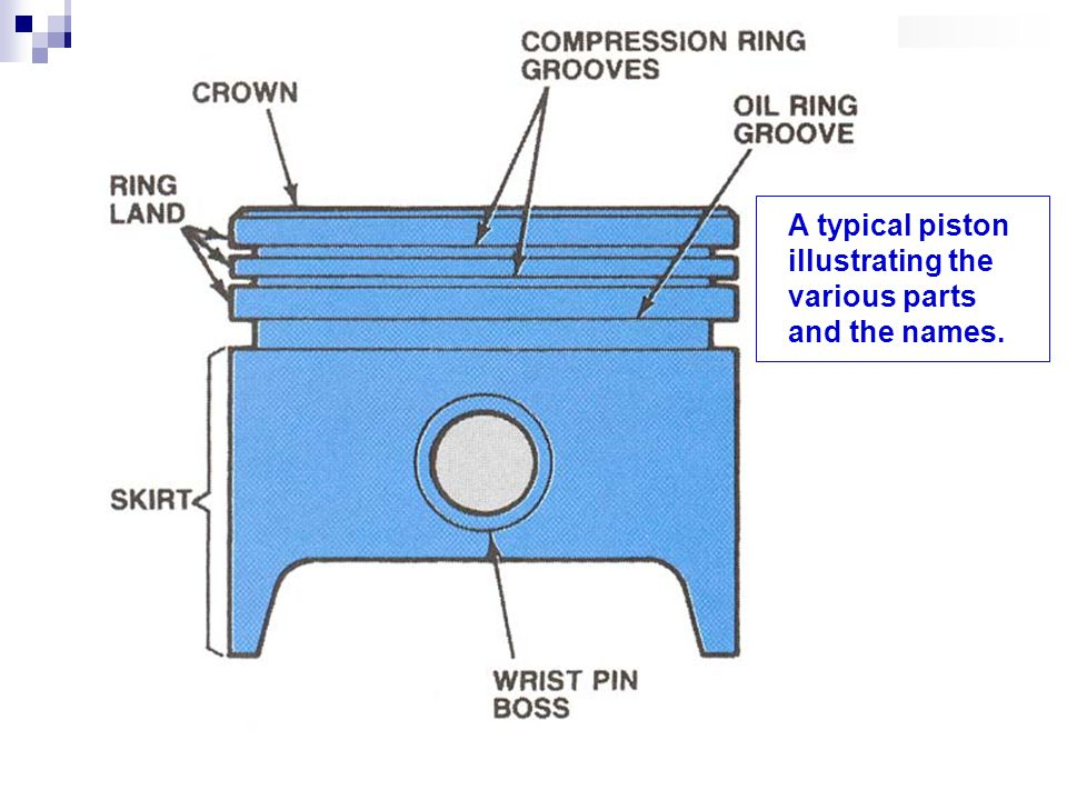 A typical piston illustrating the various parts and the names.