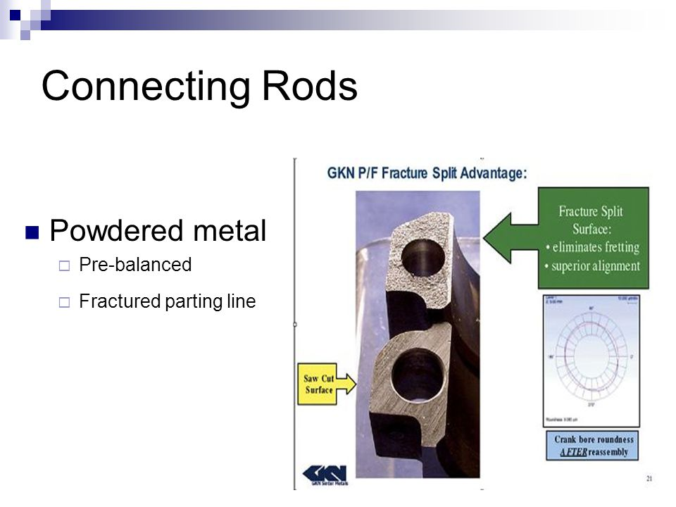 Connecting Rods Powdered metal Pre-balanced Fractured parting line