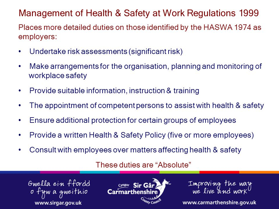 management of health and safety at
