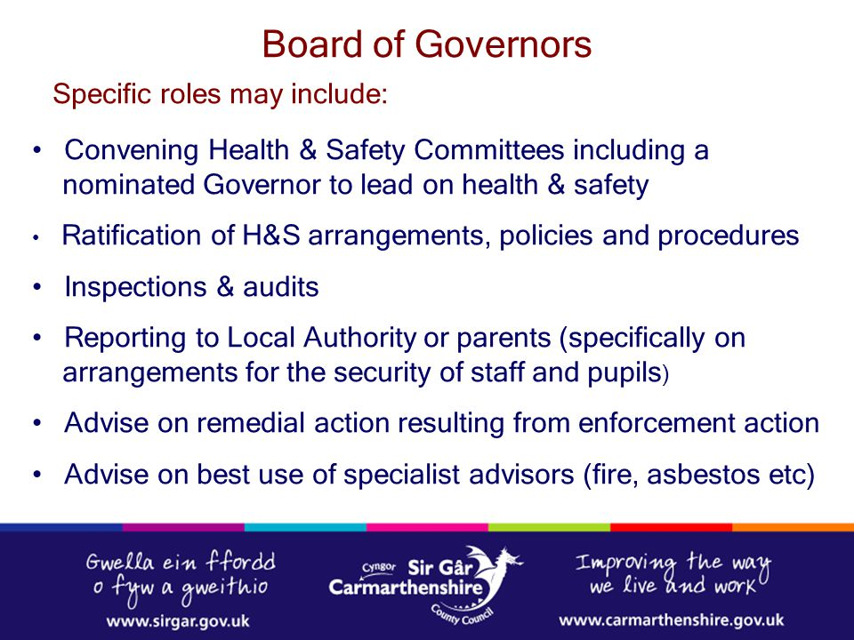 Board of Governors Specific roles may include: