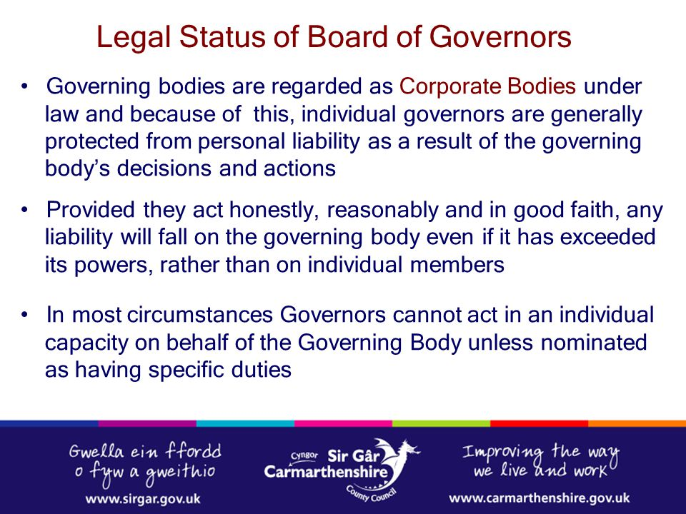 Legal Status of Board of Governors