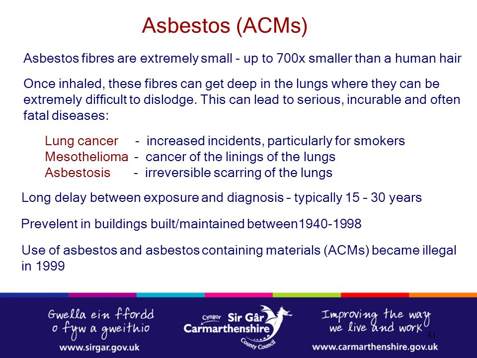 Asbestos (ACMs) Asbestos fibres are extremely small - up to 700x smaller than a human hair.