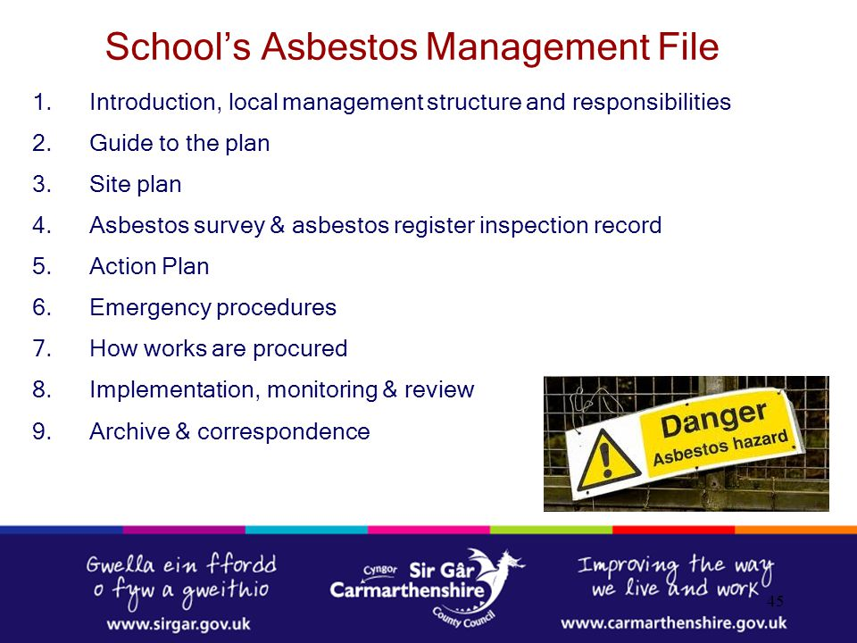 School's Asbestos Management File