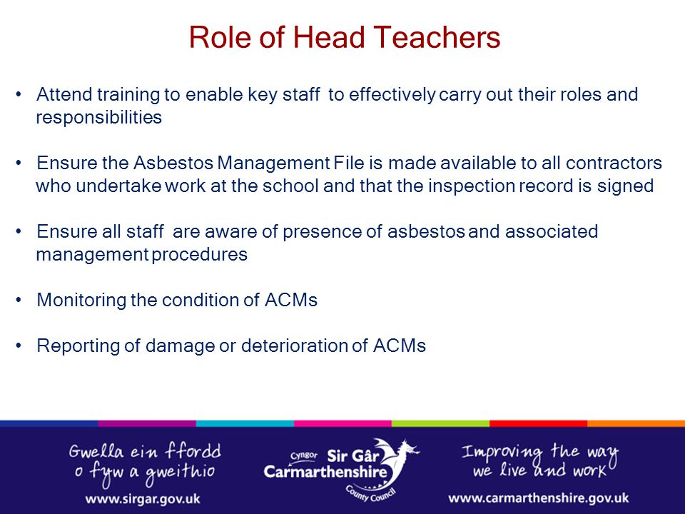 Role of Head Teachers Attend training to enable key staff to effectively carry out their roles and.