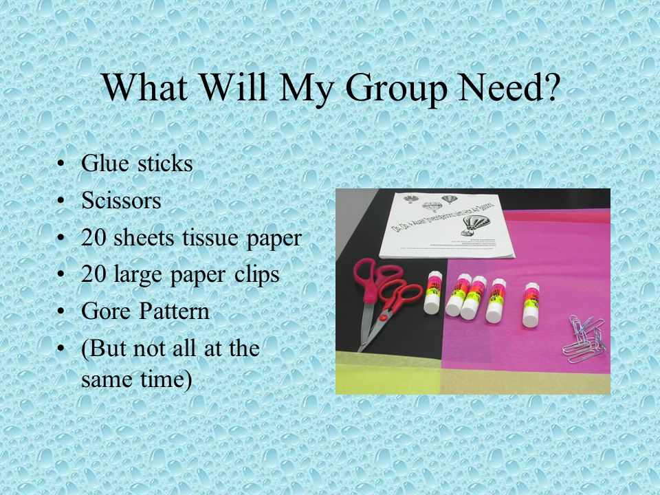 What Will My Group Need Glue sticks Scissors 20 sheets tissue paper