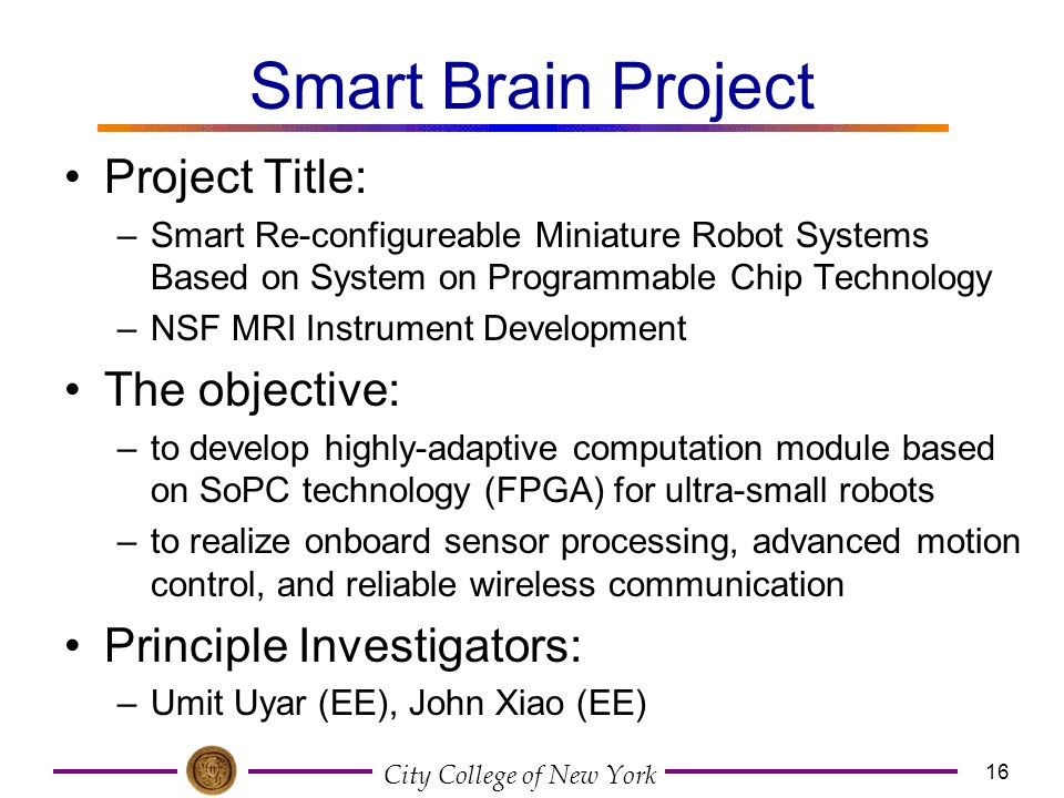 Smart Brain Project Project Title: The objective: