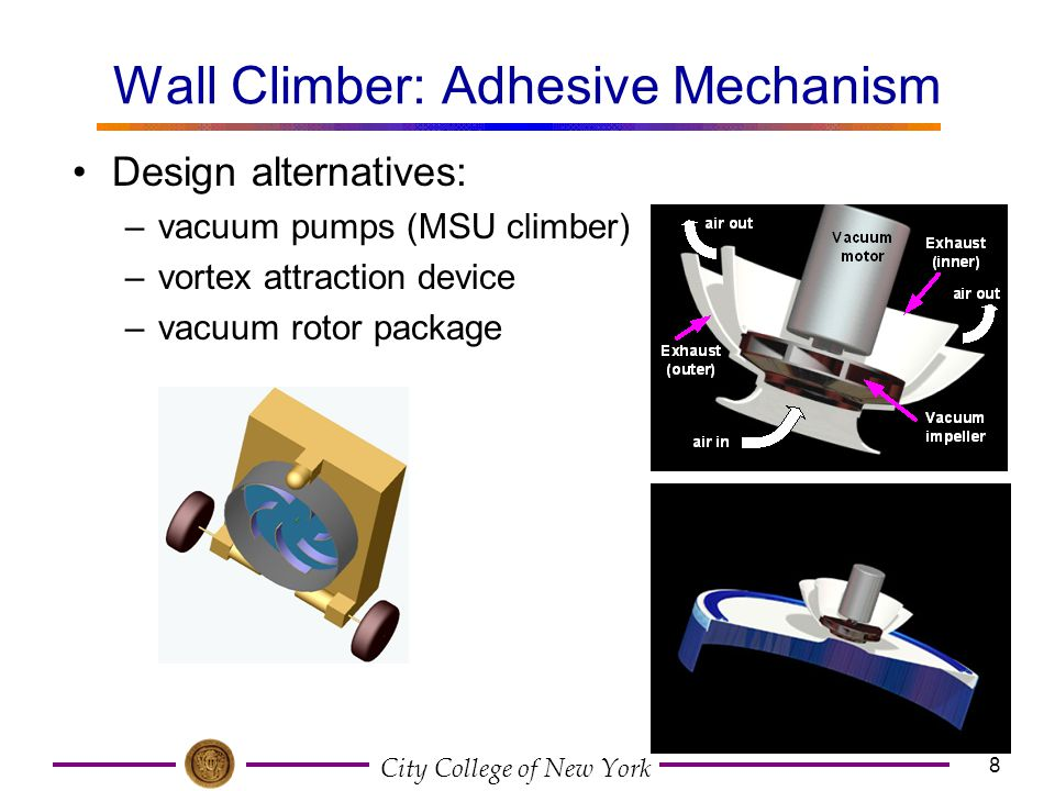 Wall Climber: Adhesive Mechanism