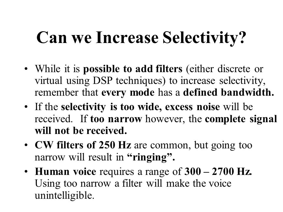 Can we Increase Selectivity