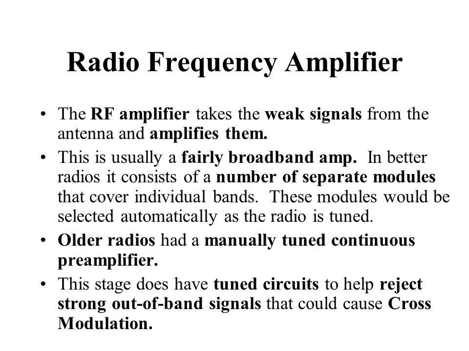 Radio Frequency Amplifier
