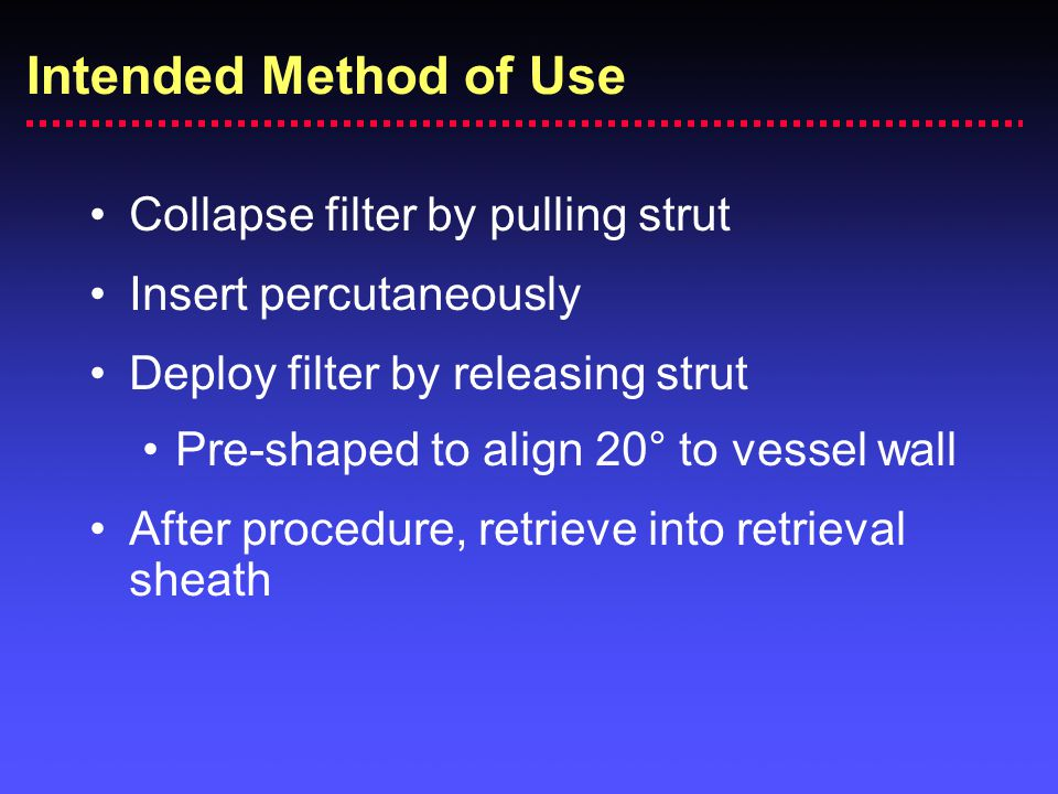 Intended Method of Use Collapse filter by pulling strut