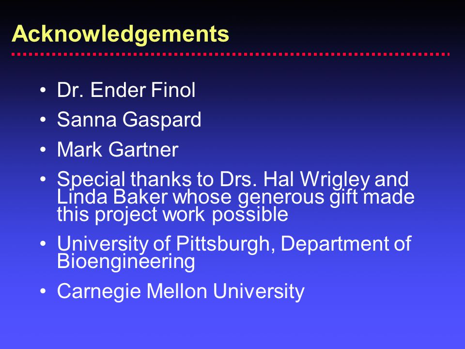 Acknowledgements Dr. Ender Finol Sanna Gaspard Mark Gartner