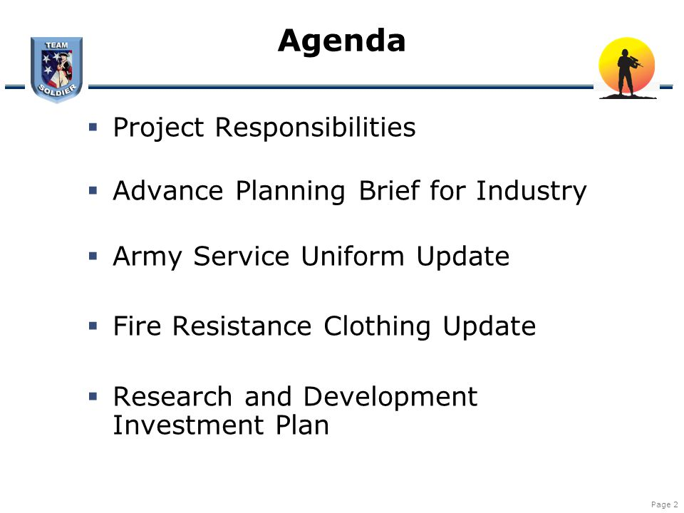 Agenda Project Responsibilities Advance Planning Brief for Industry