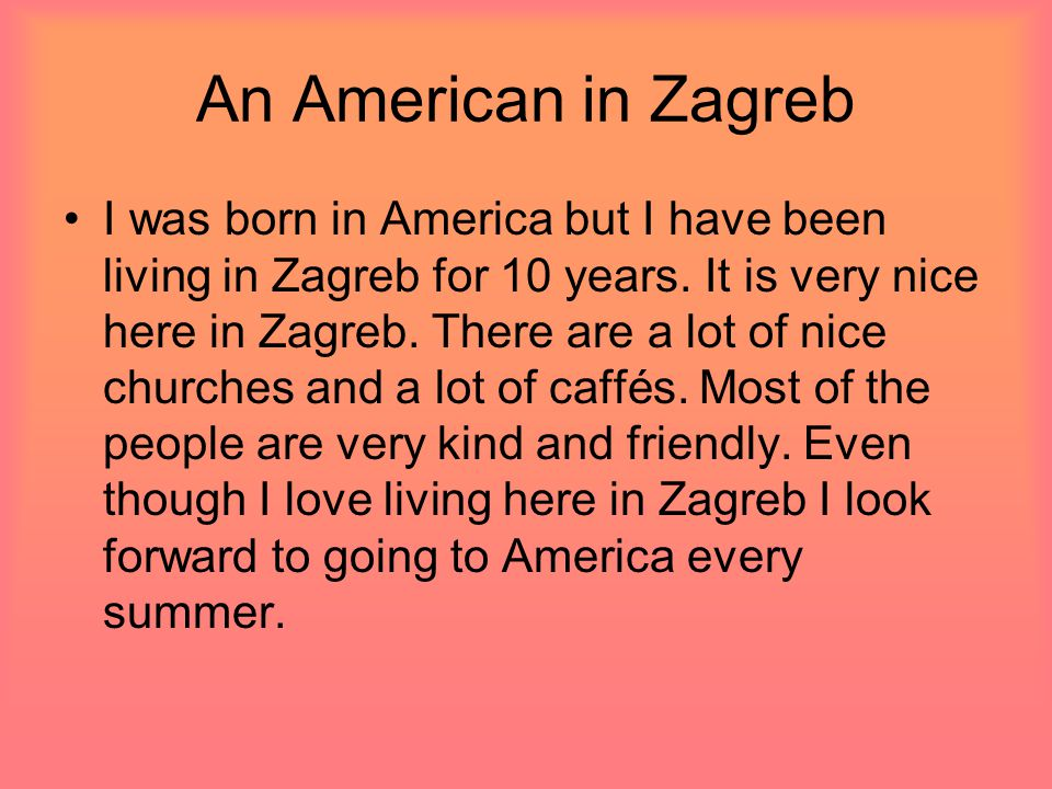 An American in Zagreb