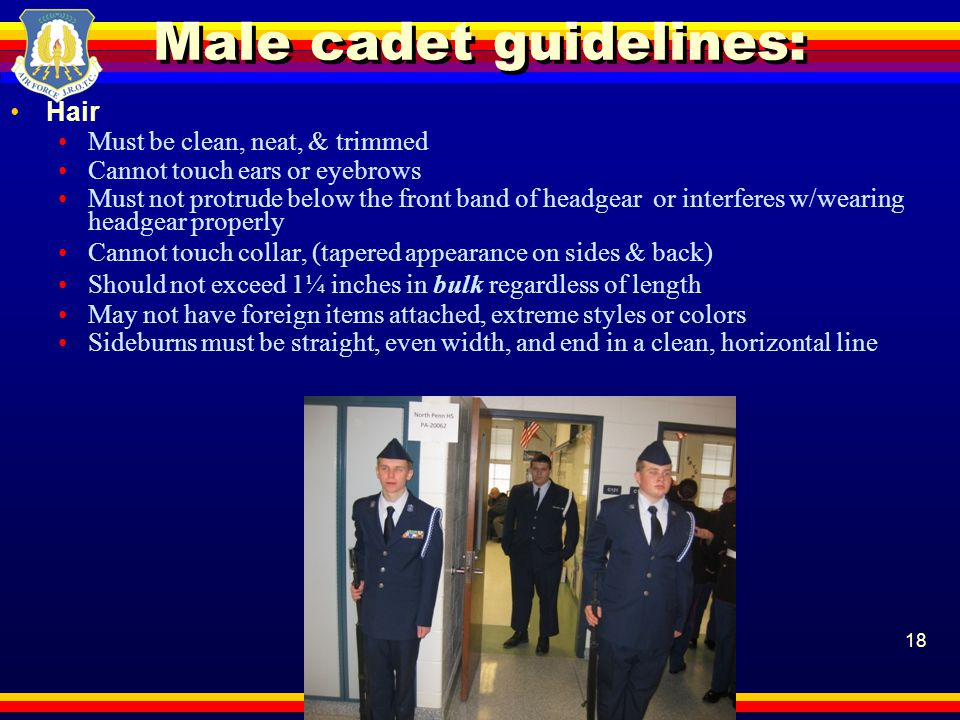 Male cadet guidelines: