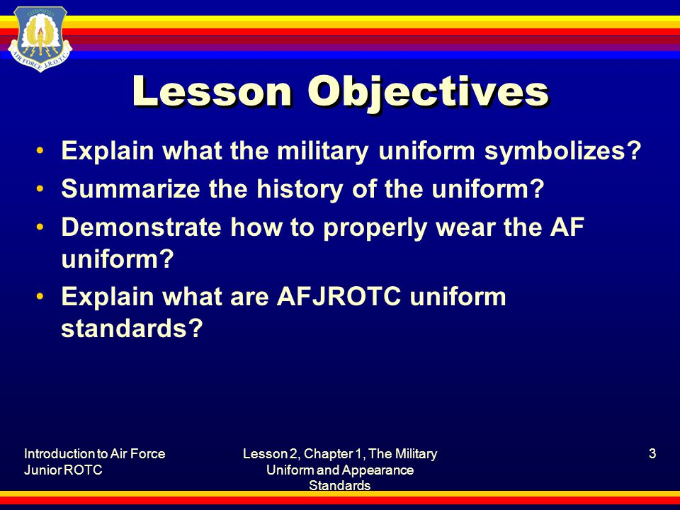 Lesson 2, Chapter 1, The Military Uniform and Appearance Standards