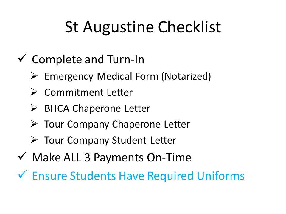 St Augustine Checklist