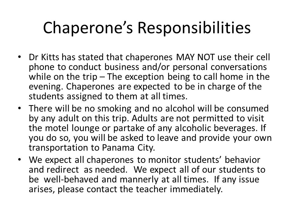 Chaperone's Responsibilities
