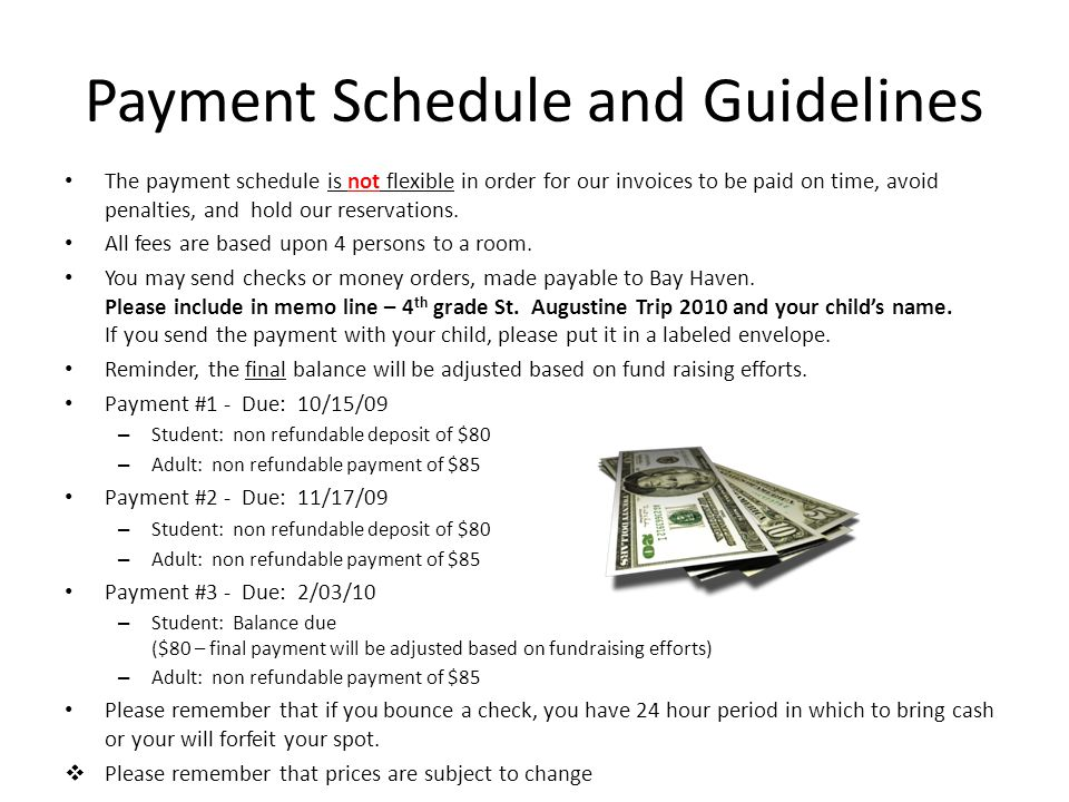 Payment Schedule and Guidelines