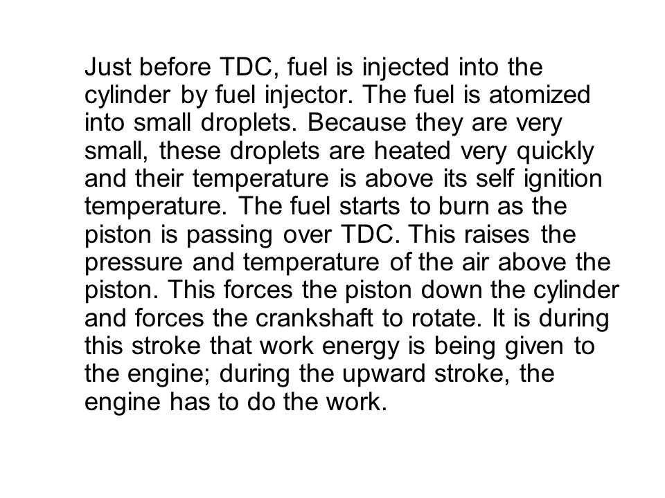 Just before TDC, fuel is injected into the cylinder by fuel injector