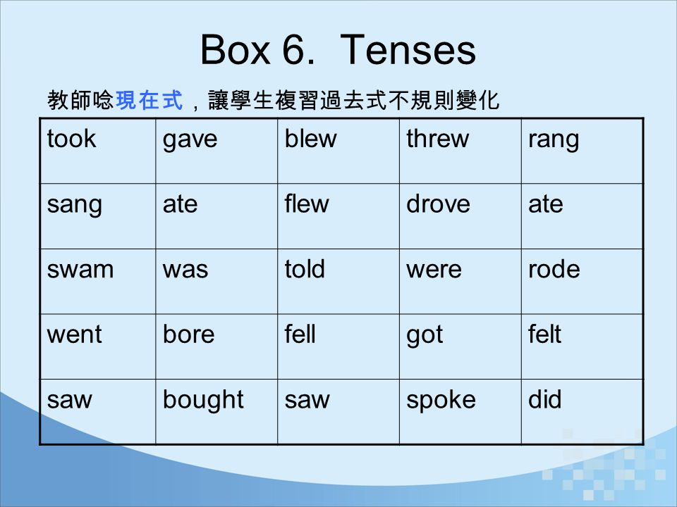 Box 6. Tenses took gave blew threw rang sang ate flew drove swam was