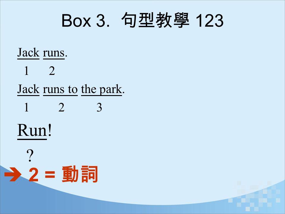  2 = 動詞 Run! Box 3. 句型教學 123 Jack runs. 1 2 Jack runs to the park.